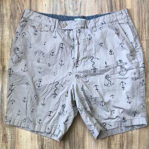 Nautica Mens Flat Front Modern Fit Anchor Shorts